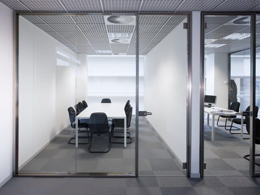 Parete mobile insonorizzata in vetro per ufficio UNIKA 100 by Elitable
