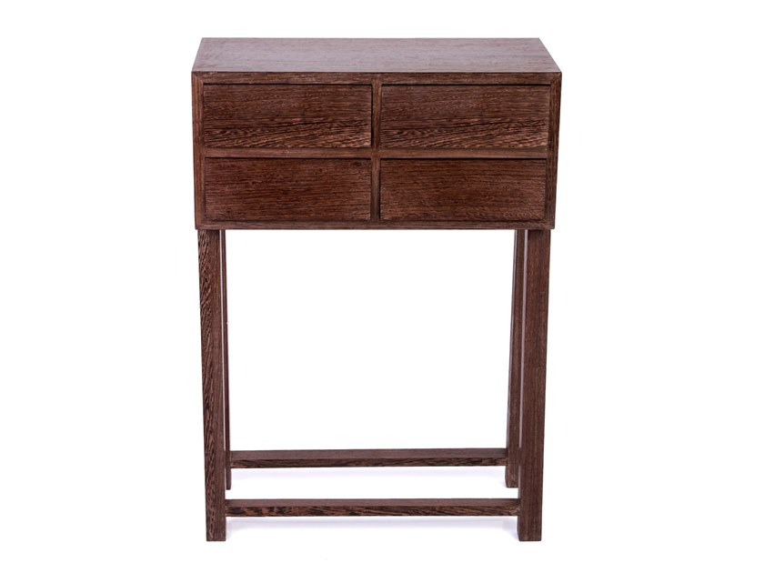 Rectangular solid wood console table with drawers UNITY by Woodmade
