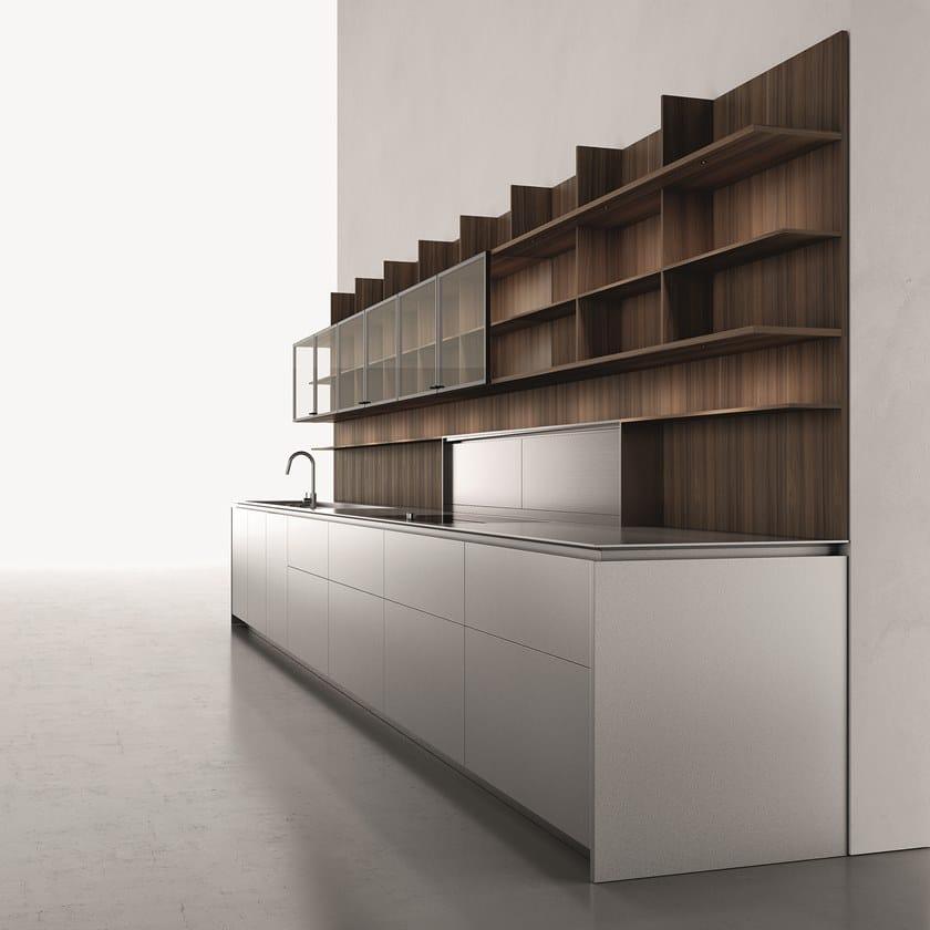 UPPER | Schienale per cucina in legno e vetro