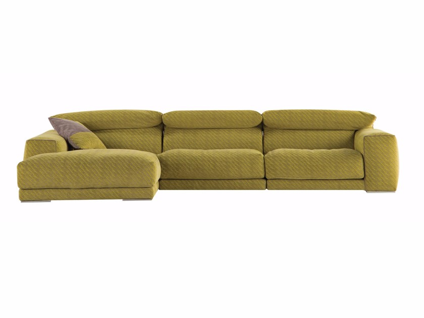 Fabric sofa with removable cover with chaise longue UPSIDE by ROCHE BOBOIS