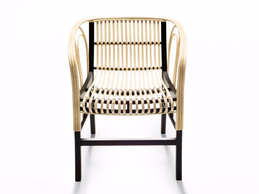 Woven wicker chair with armrests URAGANO by DE PADOVA