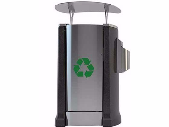 Outdoor steel litter bin with lid URANO by Bellitalia