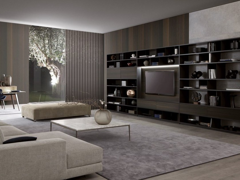 TV wall system with built-in lights URBAN by MisuraEmme