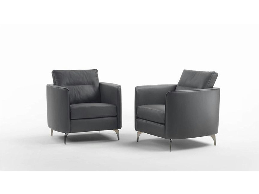 Leather easy chair with armrests URBINO | Leather easy chair by Marac