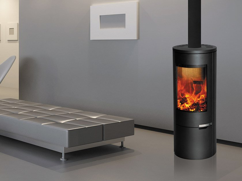 Wood-burning Central Class A steel stove URIELLE by CAMINETTI MONTEGRAPPA
