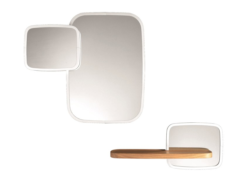 Wall-mounted wooden mirror with shelf USSÉ | Wooden mirror by Specimen Editions