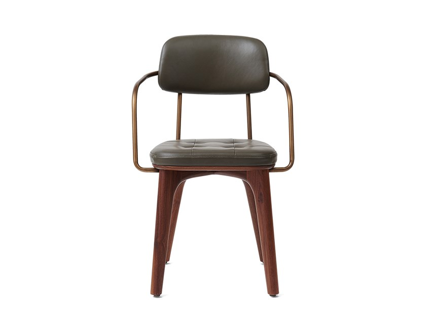 Upholstered leather chair UTILITY ARMCHAIR U by STELLAR WORKS