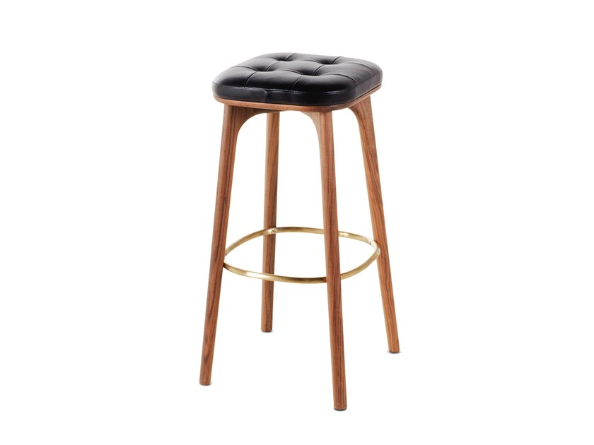 High wooden barstool with footrest UTILITY STOOL H760 by STELLAR WORKS
