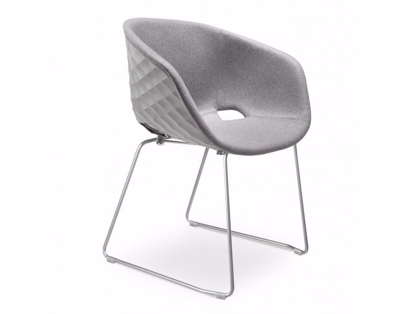 Sled base upholstered polypropylene chair Uni-Ka 595M by Metalmobil