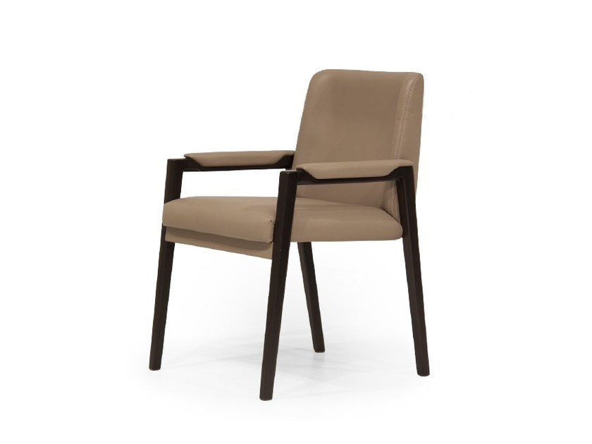 Upholstered leather chair with armrests V144 | Chair with armrests by Aston Martin