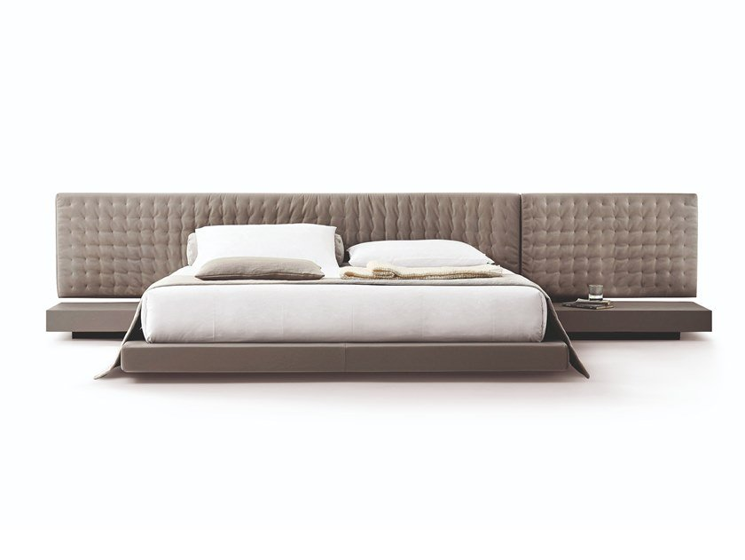 Leather double bed with tufted headboard VALENCIA by Busnelli