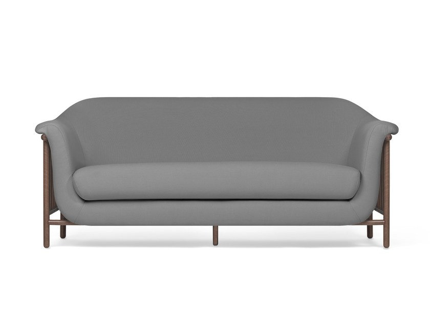 Contemporary style 2 seater upholstered fabric sofa VALENTIM elegant grey by DAM