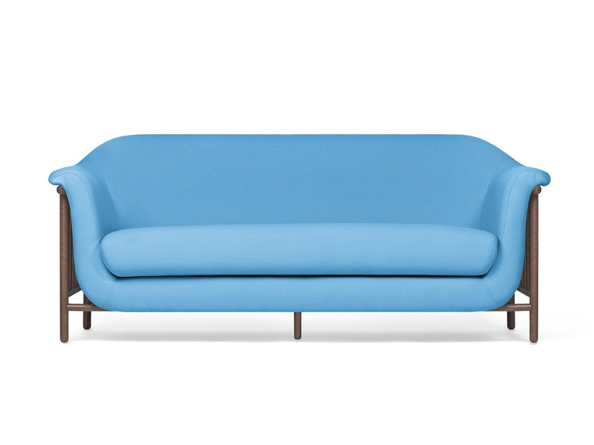 Contemporary style 2 seater upholstered fabric sofa VALENTIM shy blue by DAM