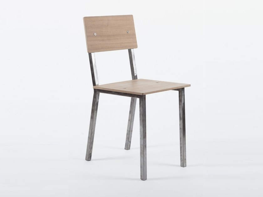 Open back steel and wood chair VANEAU   Chair by Alex de Rouvray