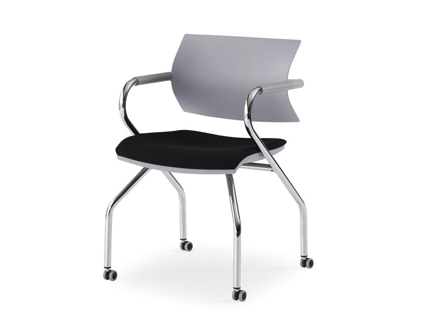 Training chair with armrests with castors VANILLA HOSPITALITY | Chair with castors by FANTONI