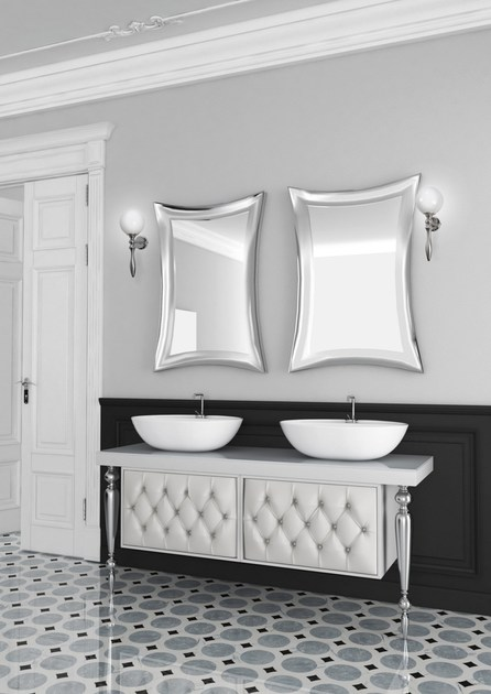 Double console sink with drawers with mirror VANITY CM07VA by LA BUSSOLA
