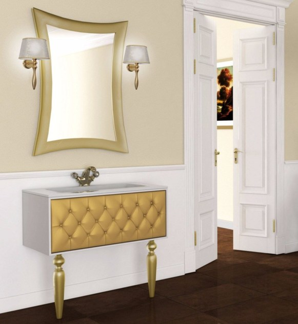Lacquered console sink with drawers with mirror VANITY CM03VA by LA BUSSOLA