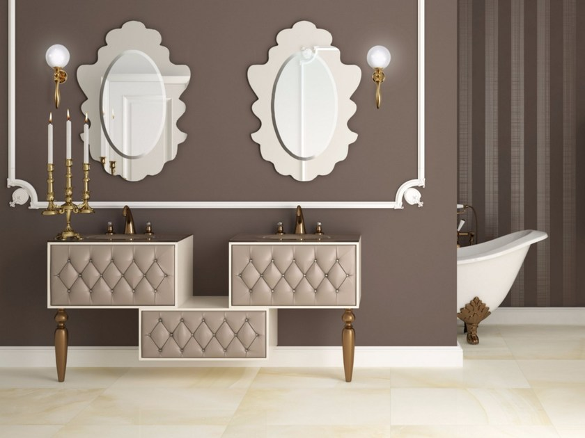 Double vanity unit with drawers with mirror VANITY CM02VA by LA BUSSOLA