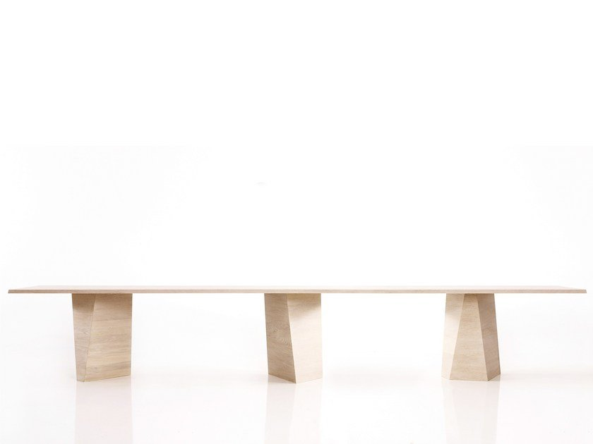 Wooden meeting table with cable management VARAN XXL by more