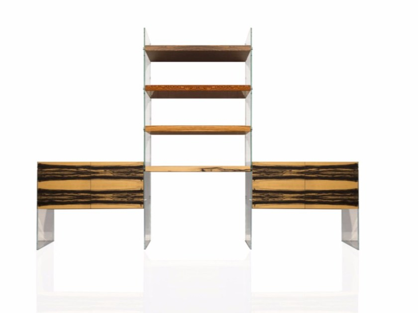 Modular wood and glass bookcase VARIATIONS by Placidia