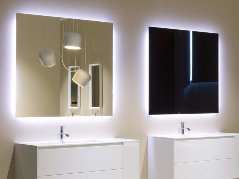Wall-mounted bathroom mirror with integrated lighting VARIO By ...