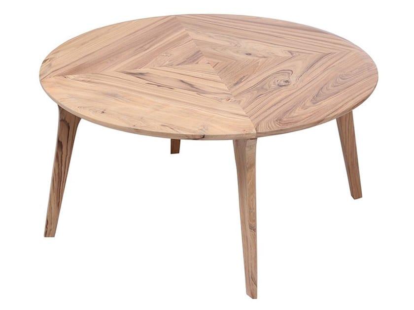 Round teak coffee table VARTULA by ALANKARAM