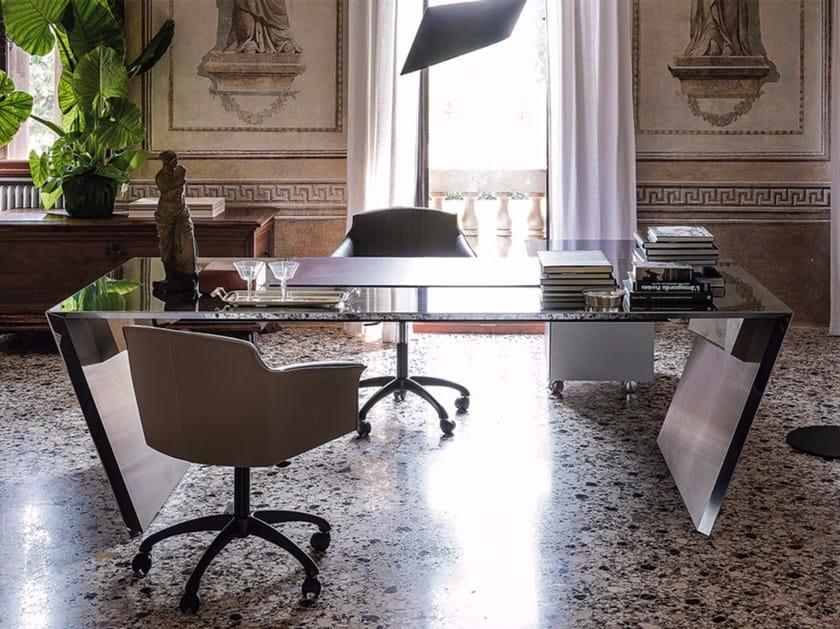 Rectangular stainless steel writing desk VEGA by Cattelan Italia