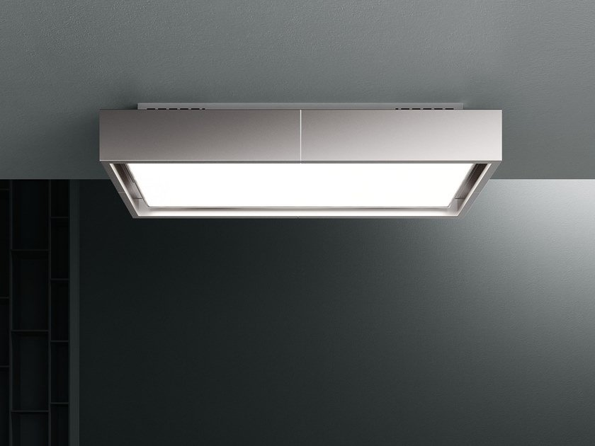 Ceiling-mounted stainless steel cooker hood with activated carbon filters with integrated lighting VEGA by Falmec