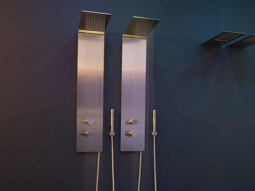 Wall-mounted stainless steel shower panel with overhead shower VELA by Antonio Lupi Design