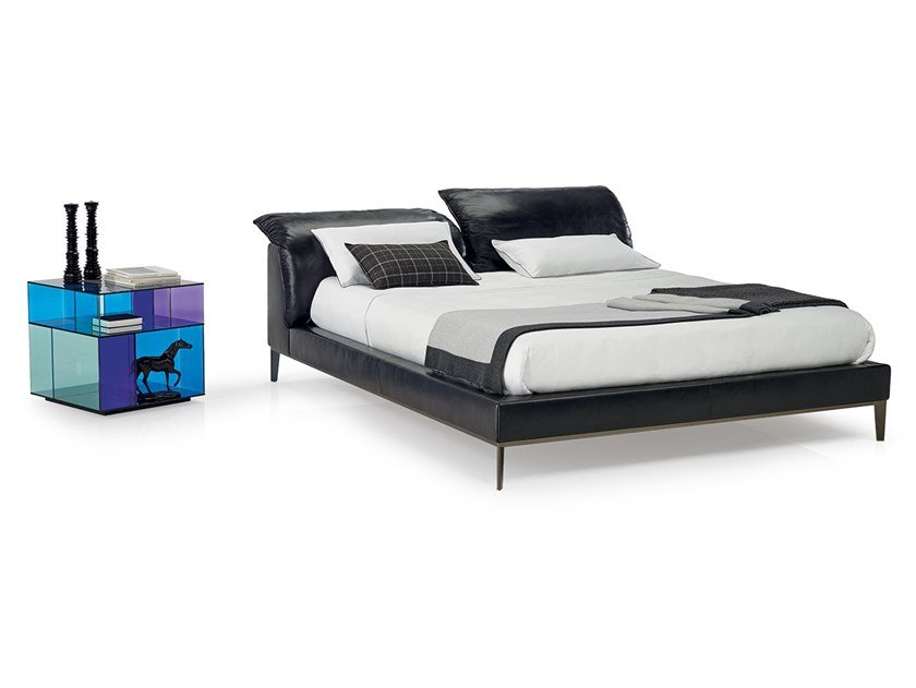 Leather bed double bed with upholstered headboard VELA by Natuzzi