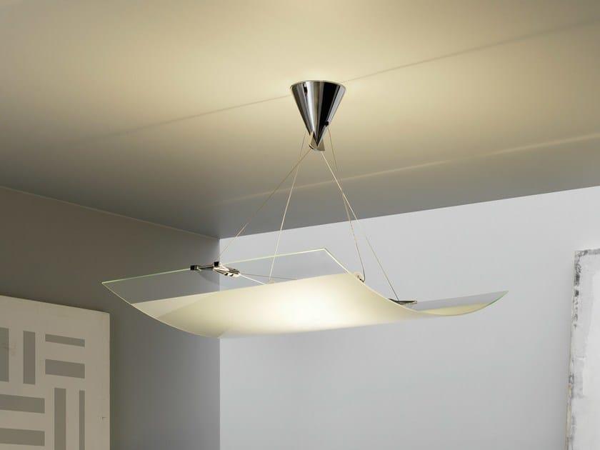 Halogen sandblasted glass pendant lamp VELO | Pendant lamp by FontanaArte