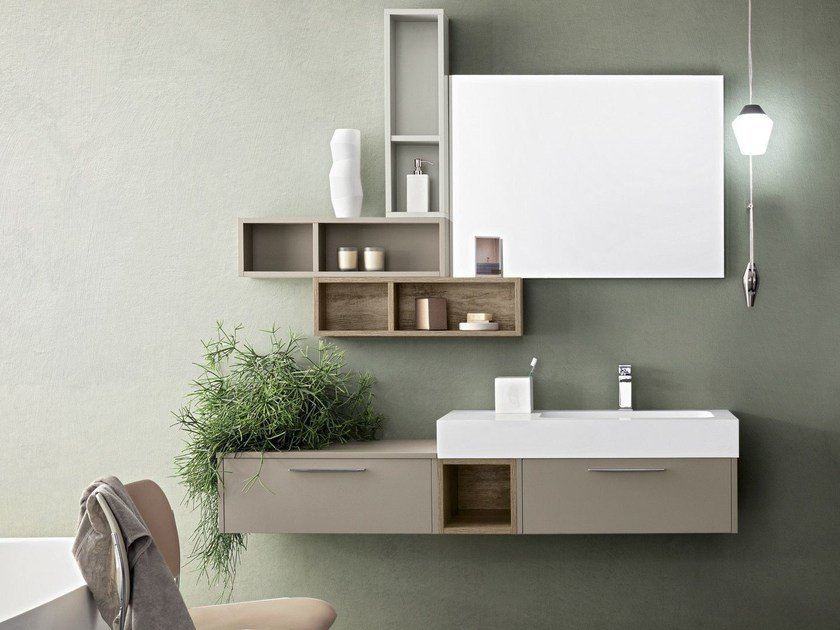Suspended bathroom cabinet with mirror VELVET 855 by Cerasa