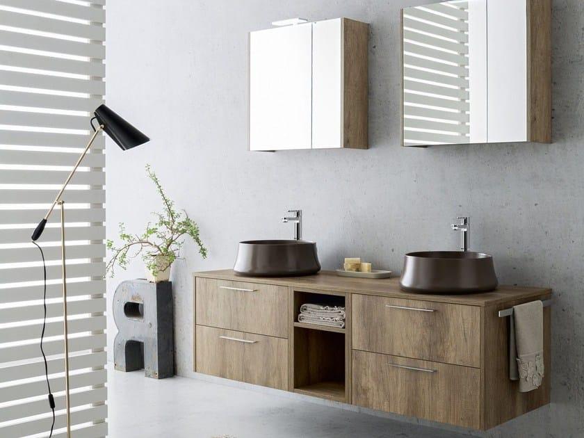 Mobile lavabo sospeso con specchio VELVET 18/19 By Cerasa