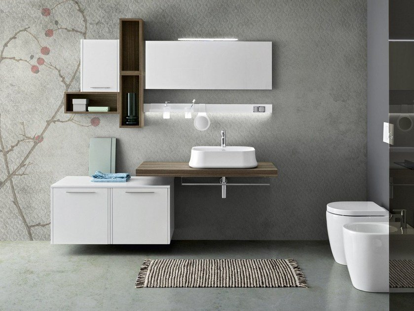 Suspended bathroom cabinet with mirror VELVET 9990 by Cerasa