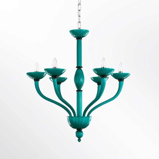 Classic style handmade glass chandelier VELVET | Glass chandelier by MULTIFORME