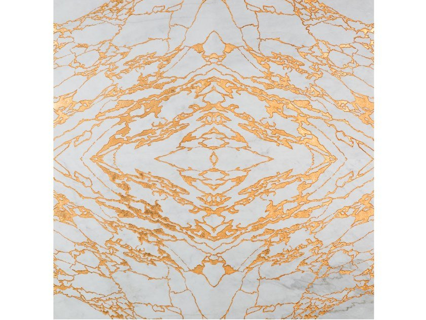 Gold leaf and Calacatta marble wall/floor tiles VENA ORO by Palazzo Morelli