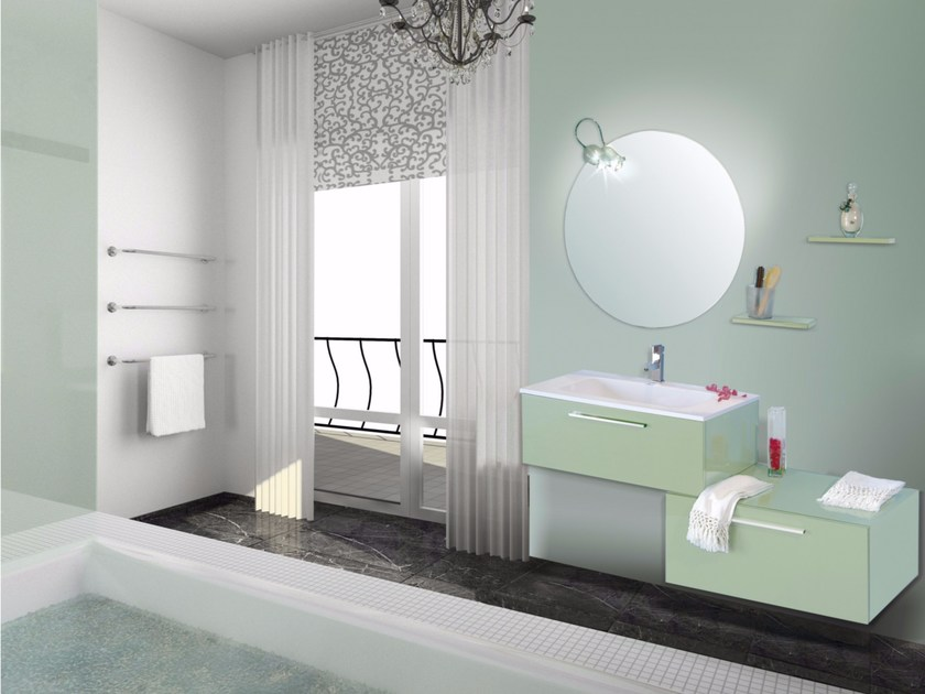 Lacquered vanity unit with drawers with mirror VENERE CM09V by LA BUSSOLA