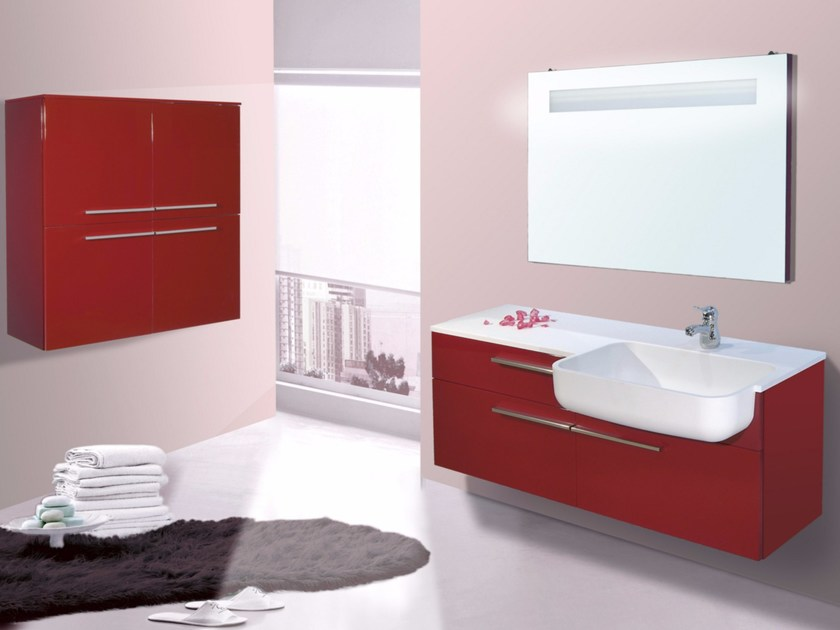 Lacquered vanity unit with drawers with mirror VENERE CM13V by LA BUSSOLA