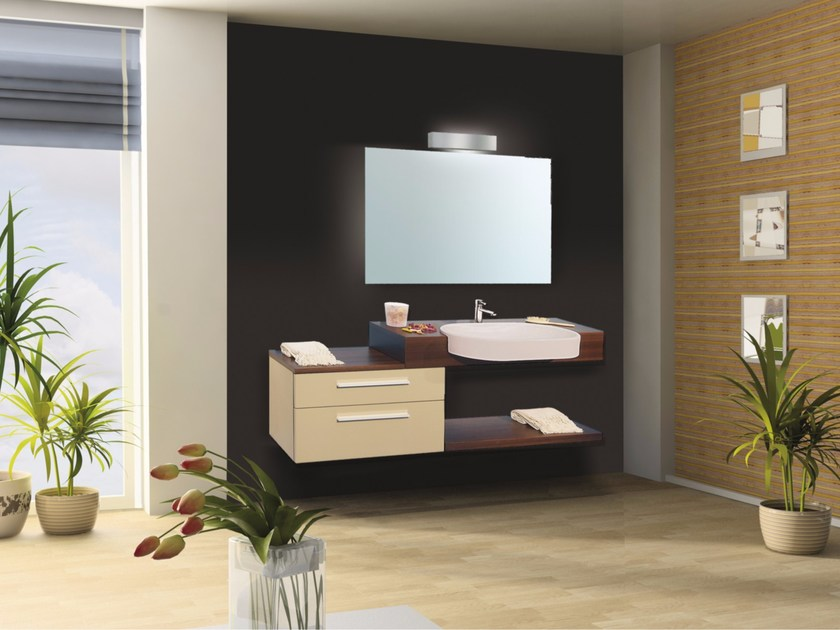 Lacquered vanity unit with drawers with mirror VENERE CM14V by LA BUSSOLA