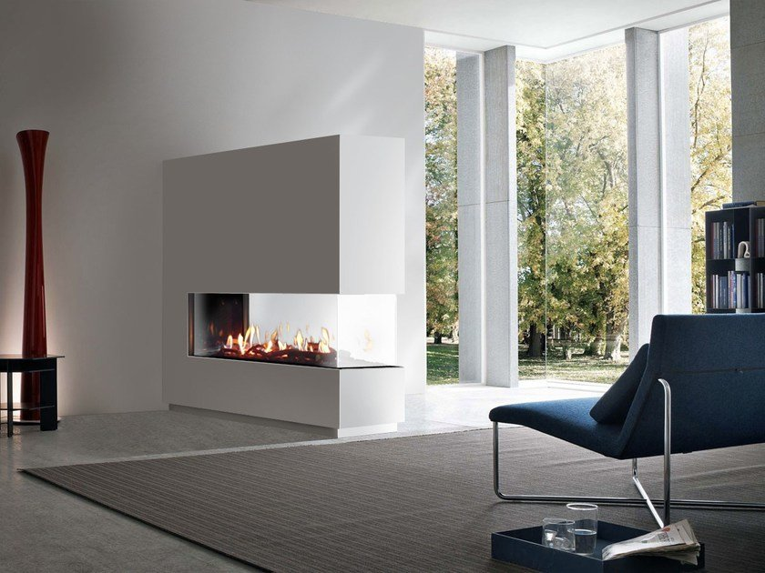 Gas Fireplace insert with Panoramic Glass VENEZIA | Fireplace insert with Panoramic Glass by ITALKERO