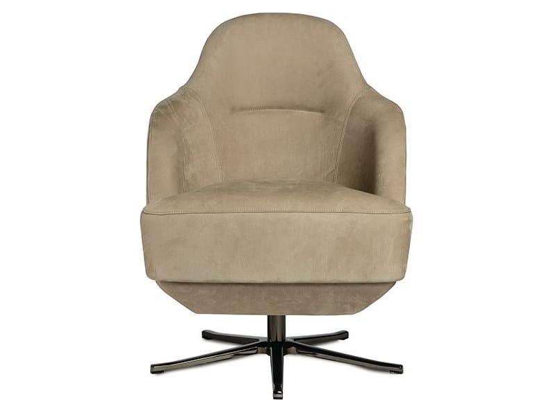 Nabuk armchair with 4-spoke base with armrests VENICE | Armchair with 4-spoke base by Paolo Castelli