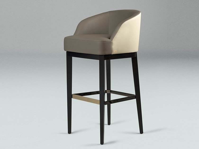 High leather stool with armrests VENICE   Stool by Paolo Castelli