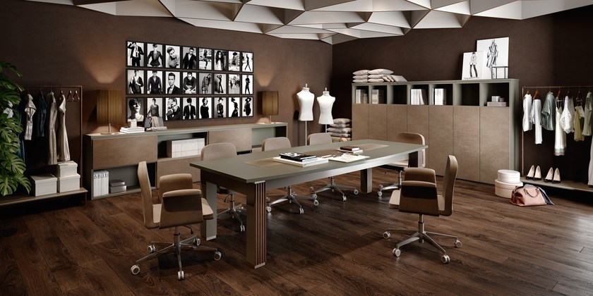 Lacquered rectangular wooden meeting table VENTURE | Rectangular meeting table by Caroti