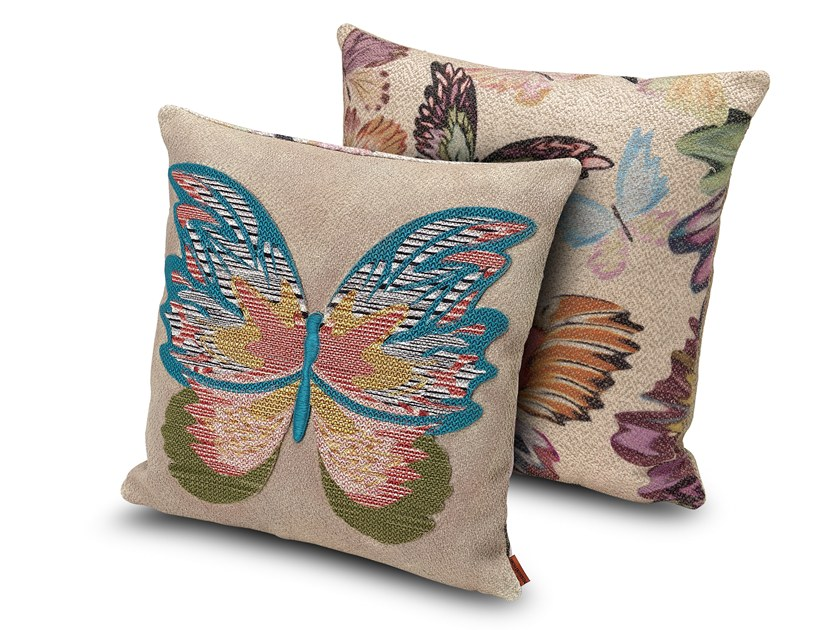 Embroidered fabric cushion VERMILION by MissoniHome