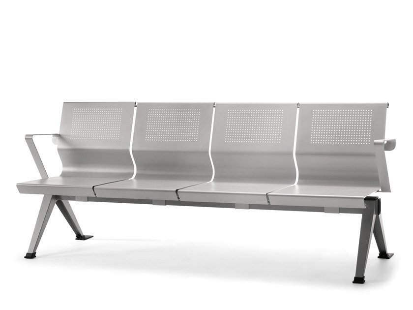Freestanding metal beam seating with armrests VERMONT by AP Factor