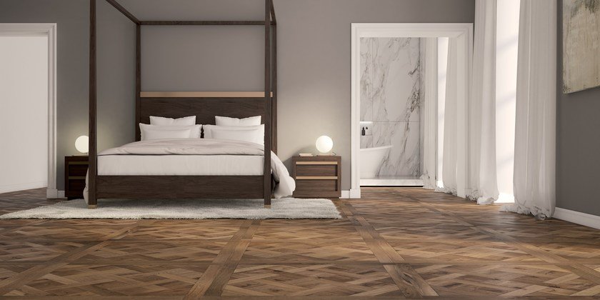 VERSAILLES | Pavimento/rivestimento in legno VERSAILLES - Rovere Europeo, Spazzolato, Stucco calante, Affumicato