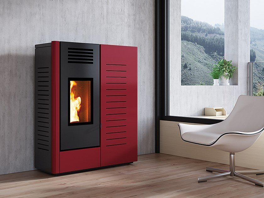 Pellet Class A+ wall-mounted steel stove VERSO by CAMINETTI MONTEGRAPPA