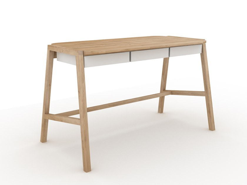 Oak writing desk with drawers VERSO by Ethnicraft