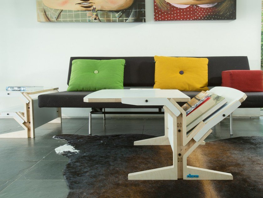 Multi-layer wood coffee table with integrated magazine rack VERTICAL & HORIZONTAL TABLET by rform