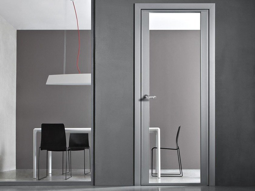 Hinged glass and aluminium door with concealed hinges VETRA PRO by CONNECTICUT
